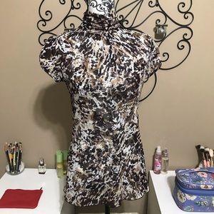 Zara Basic T Shirt Sheer Turtleneck Size L
